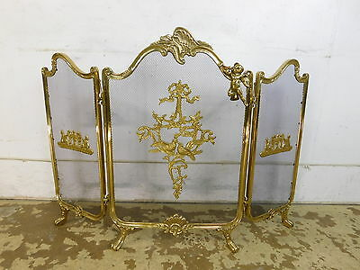 Fancy Vintage French Style Cherub Solid Brass Tri-Fold Fire 3 Screen Fireplace