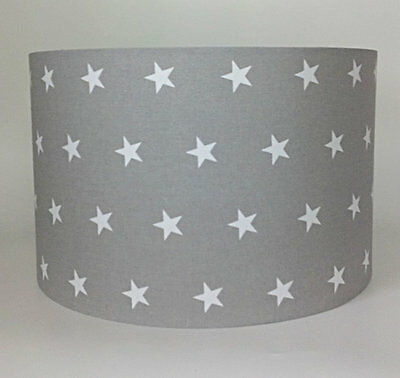 Grey, White Stars Large Fabric Ceiling Shade - Star Print, Light Pendant