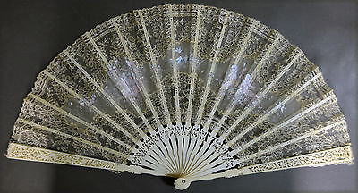 Exceptional Unusual French Hand Carved Painted Lace Fan Angel Birds Romantic