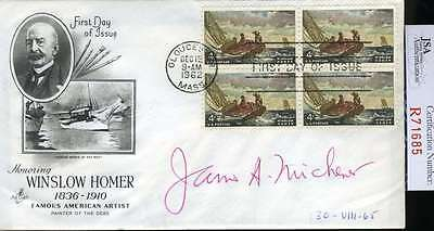 James Michener Jsa Coa Hand Signed Fdc Authenticated Autograph