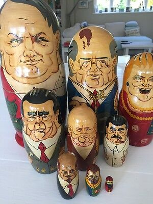 9 Russian Soviet Political Leaders Nesting Dolls