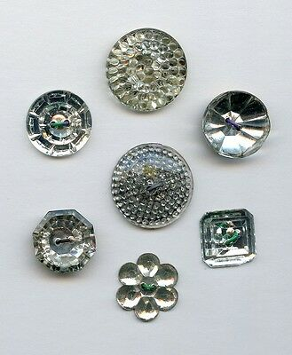 """7 ANTIQUE GLASS buttons--MIRROR PAINTED BACK--HEX--FLOWER--SQUARE--15/16""""--5/8"""""""