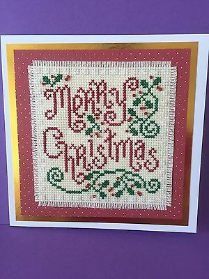 "Completed Cross Stitch Christmas Card           ( Merry Christmas) 6"" x 6"""