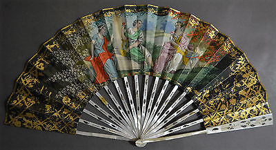 French Hand Painted Mother-Of-Pearl Fan Love Scenes Rococo Gilding