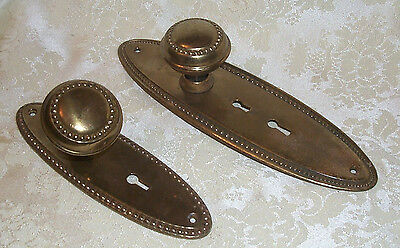 Lot of two Old antique metal brass  door back plates with knobs