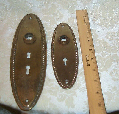 Lot of two Old antique metal brass  door back plates
