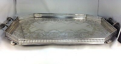 Elegant  Mappin & Webb 1900's Large Butlers Tray  London Victorian  Silver Plate