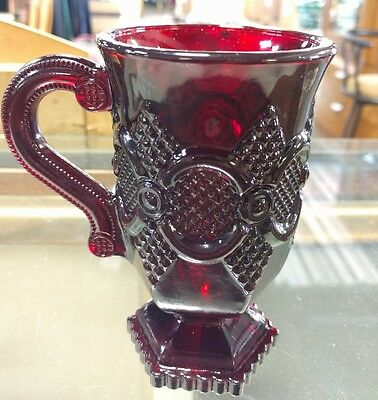 """Set of 6 Avon Cape Cod 1876 Footed Mugs Ruby Red Sandwich Glass 5"""""""