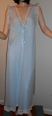 Vintage Shadowline Chiffon Nightgown Baby Blue Long Nylon Nightgown