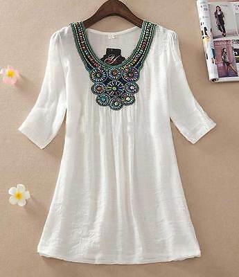 Womens fashion embroidered Top Blouse size 14 16 18 clothing White Shirt Summer