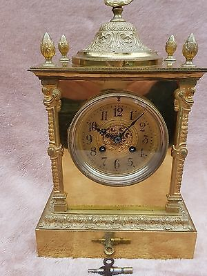Antique French Solid Brass Japy Feres Striking Mantel Clock