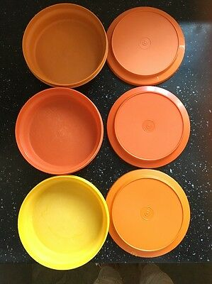 Tupperware Vintage 7 Inch Plate o Bowl Harvest Colours x 3 Camping / Picnic
