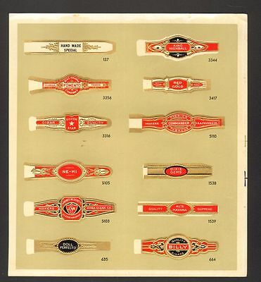 Undated Unused Sample Sheet of 12 Cigar Bands King Highball Fomento Red Gold