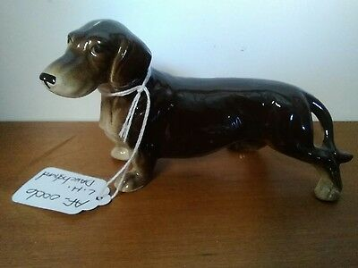 Vintage Dog Figurine Long Haired Dachshund Made in Japan