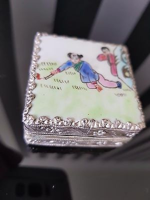 Antique Hand Painted White Metal Box