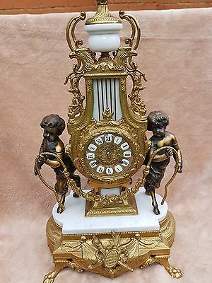 Antique Imperial Gilt Brass Clock With Franz Hermle Ting Tang Movement