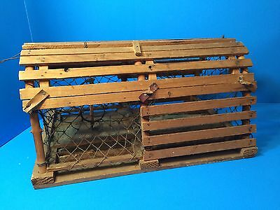 """Vintage Handcrafted Lobster Trap 18"""" x 12"""" x 9"""" Authentically Detailed"""