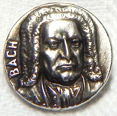 """NICE ANTIQUE FRENCH WHITE METAL BUTTON w/PROFILE OF THE COMPOSER """"BACH"""""""