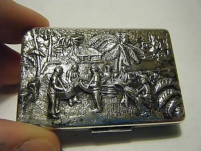 Vintage 1298 Danish/denmark  Silver Repousse Pill Box Jamaican Drum Band Scene