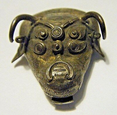 Antique Chinese Hand Wrought/ Engraved Dragon Head Clothing Ornament Gilt Bronze