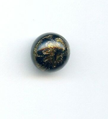 """ANTIQUE button--BLACK GLASS BALL LOADED with GOLD GLITTER on TOP HALF--1/2"""""""