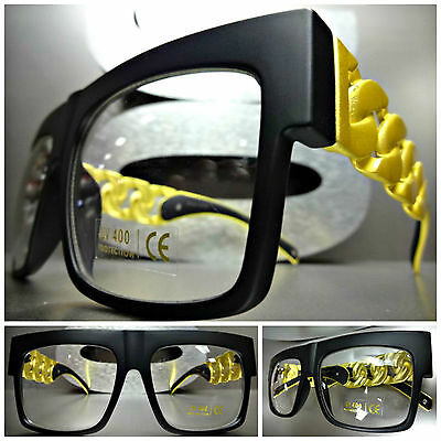 Men's Women OVERSIZE VINTAGE Style Clear Lens EYE GLASSES Matte Black Gold Frame