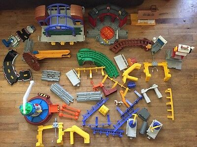 Huge Lot Fisher Price Geotrax Station train Trestle Parts & Pieces Tracks Bridge