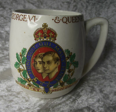 Vintage George VI 1937 Coronation Mug / Solian Soho Royalty Pottery