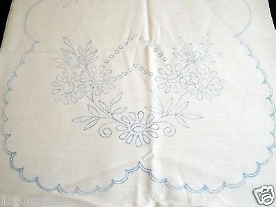 """Vintage Table Runner Stamped Linen Hungarian Embroidery Dresser Scarf  34x15"""""""