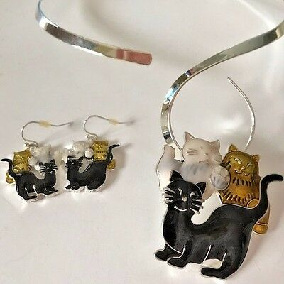 Happy Cats Pendant Choker Set Free Matching Earrings New Kitty Lover Gifts Meow