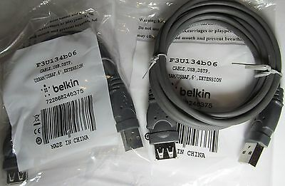 2-PACK NEW BELKIN F3U134B06 FEMALE USB TO MALE USB DATA EXTENSION CABLES 6' 6ft