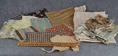 quilt cotton scrap pieces early repair calico  antique doll clothes 1800-1900