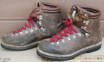 1980s LOWA HIKING Mountaineering BOOTS~Steel Shank~Brown Leather~Mens 10 1/2