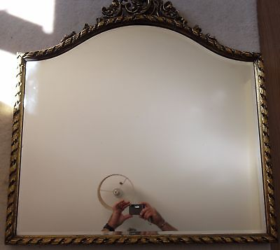 Edwardian Ornate Large Vintage Carved Gilt Framed Bevelled Edge Mirror