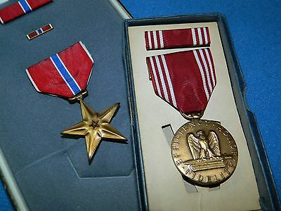 Named Bronze Star & Army Good Conduct Medals Original Boxes and Accessories
