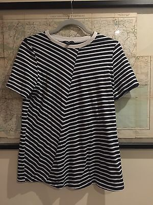 New Look Maternity Pregnancy Stripe Top T Shirt Size 8 Navy Blue White