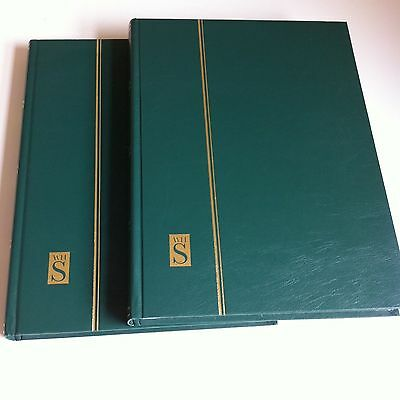 2 x Green WH Smith Stamp Albums, empty, used