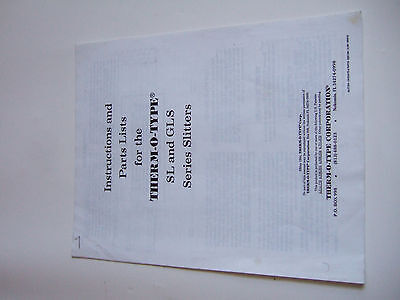 Therm-O-Type Sl Gls Slitters Instruction Parts List Manual