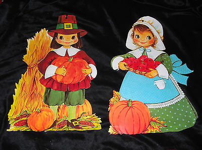 Thanksgiving Pilgrims Boy & Girl Diecut Lot Paper Decoration Vtg 1970s