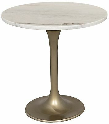 "20"" Round Bistro Table White Quartz Stone Top Solid Metal Antique Brass Bass"