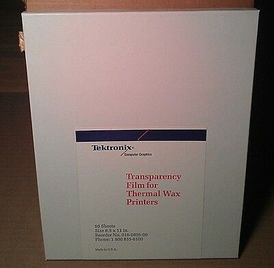 50 Sheets TEKTRONIX TRANSPARENCY FILM FOR THERMAL WAX PRINTERS 8.5x11 NEW BOX