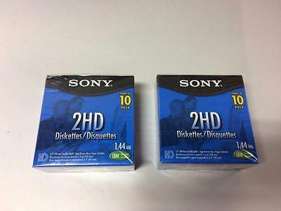 New Sealed 2X Pack Of 10 2Hd Sony Diskettes Double Sided 1.44Mb Ibm Format 3.5''