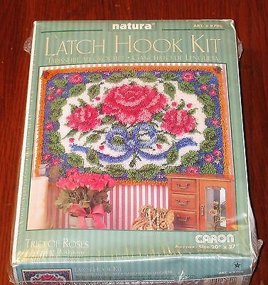 Caron Natura Latch Hook Kit  Trio Of Roses  WALL HANGING 20'' X 27'' SEALED