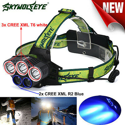 3x XM-L T6 White+2x R2 Blue LED 18650 Headlamp Headlight Torch Flashlight Lamp