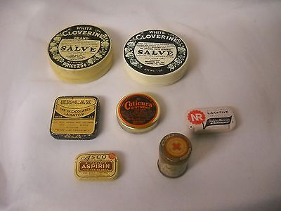Vintage DRUGSTORE Pharmacy MEDICINE Advertising LOT of TINS Aspirin, Laxatives +