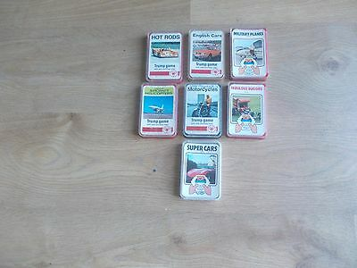 Collection Of 7 Sets Of Vintage Top Trumps - Hot Rods/super Cars/motor Cycles