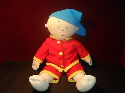 Large CAILLOU Plush Doll 29 inches in red Pajama  2001 PBS doll CINAR pillow