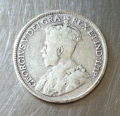 1930 Canadian Silver Quarter King George 25 Cents Vintage Coin
