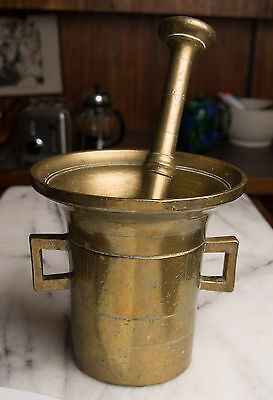"Huge Antique Brass Mortar Pestle Handles 18th-19th-Century heavy 11"" 10 lbs."