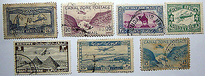 7 Used Airmail Stamps As Shown.